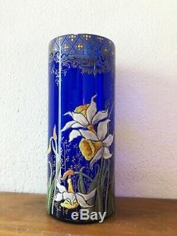 Ancien vase émaillé verre bleu décor fleurs orchidée Montjoye LEGRAS