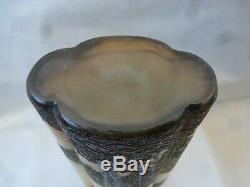 Ancien vase en pate de verre Legras dégagé à l'acide era Daum gallé muller