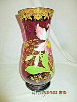 Ancien vase en verre émaillé LEGRAS PANTIN -Rare décor d' orchidée -27,5cm -TBE
