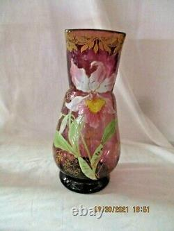 Ancien vase en verre émaillé LEGRAS Rare décor d' orchidée et feuillage or 27,5