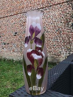 Ancien vase en verre peint émaillée décor de fleur legras