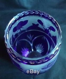 Ancien vase georges raspiller cristal taillé multicouche gravée à l'acide nancy