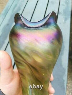 Ancien vase irisé de johan Loetz (dans son catalogue), art nouveau