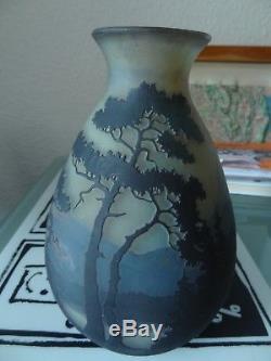 Ancien vase multicouche dégagé acide art nouveau signé Muller Frères Lunéville