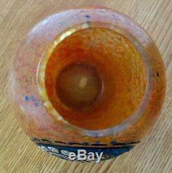 Ancien vase pate de verre art deco émaillé delatte
