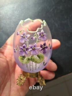 Ancien vase uf Émaillé décor violettes monté laiton chardons old Enamels 1900