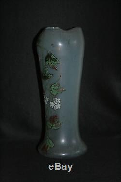 Ancien vase verre soufflé émaillé Legras art nouveau fin XIX ème