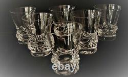 Ancien verre cristal x 6 signé Daum FRANCE Modèle Sorcy French Glass N°1
