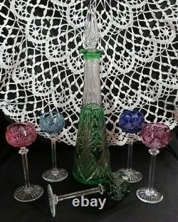Ancien verres et carafe a liqueur St Louis en cristal doublé couleur Gavarny
