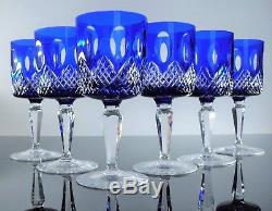 Ancienne 4+2 Verres A Vin Cristal Couleur Bleu Taille Boheme Non Signe