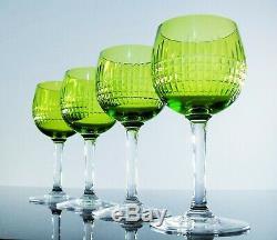 Ancienne 4 Verres A Vin Cristal Couleur Vert Taille Modelé Nancy Baccarat