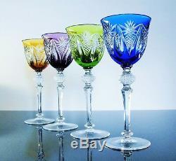 Ancienne 4 Verres A Vin En Cristal Couleur Taille Boheme Wmf Signe