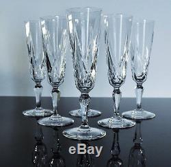 Ancienne 6 Flutes A Champagne Cristal Taille Modele Ardeche St Louis Signe