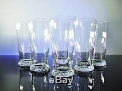 Ancienne 6 Long Gobelets Orangeade Cristal Souffle Modelé Kim Daum 15cm