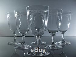 Ancienne 6 Verres A Eau Vin En Cristal Grave L'acide Baccarat Monogramme 1906
