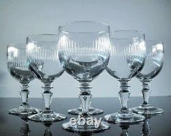 Ancienne 6 Verres A Eau Vin Verre Souffle Taille Modelé Renaissance Baccarat