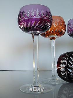 Ancienne 6 Verres A Vin En Cristal Couleur Taille St Louis Modele Metra Treveris