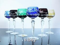 Ancienne 6 Verres A Vin En Cristal Double Couche Vers 1960 Dresd Boheme Ddr