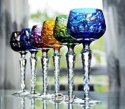 Ancienne 6 Verres A Vin En Cristal Double Couche Vers 1960 Lausitzer Boheme Ddr