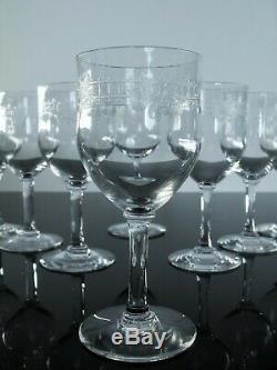 Ancienne 6 Verres A Vin En Cristal Grave Dégage L'acide Baccarat Art Déco