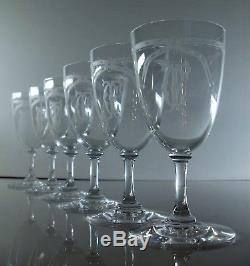 Ancienne 6 Verres A Vin En Cristal Grave L'acide Baccarat Monogramme 1906