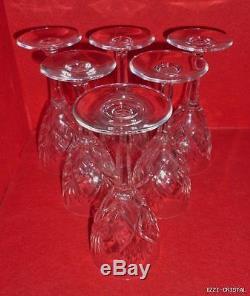 Ancienne 6 Verres A Vin En Cristal Taille Signe Saint Louis Modele Chantilly