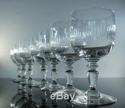 Ancienne 6 Verres A Vin Ou Digestif Cristal Taille Modelé Renaissance Baccarat