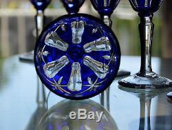 Ancienne 6 Verres En Cristal Taille Couleur Double Bleu Boheme