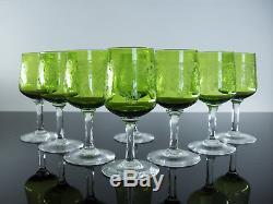 Ancienne 8 Verres En Cristal Couleur Grave Degage L'acide Baccarat St Louis