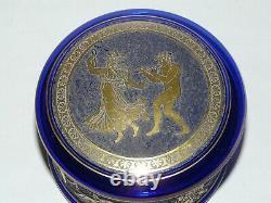 Ancienne Boite Bonbonniere Cristal Bleu Cobalt Val St Lambert Leon Ledru 1910