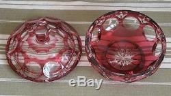 Ancienne Boite Drageoir Bonbonnière en cristal de Baccarat Rouge Rubis