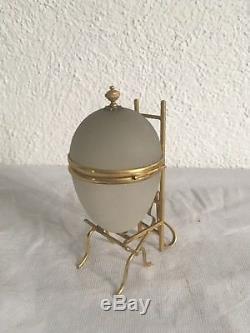 Ancienne Boîte Oeuf Monté Verre Opalescent Antique Box