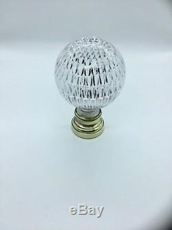 Ancienne Boule D'ornement D'escalier XIX Cristal Nid D'abeille Et Laiton Complet