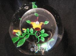 Ancienne Boule presse-papier Baccarat à décor de pensée cristal facettes