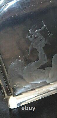 Ancienne Bouteille carafe Decanter Cristal Orrefors Neptune Sirène Simon Gate