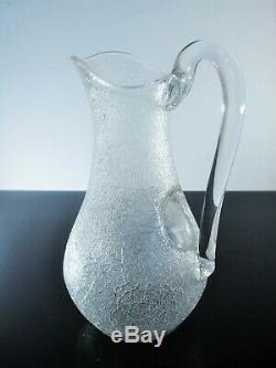 Ancienne Broc A Glass Cruche A Eau Cristal Dégage L'acid Modelé Baccarat 1916