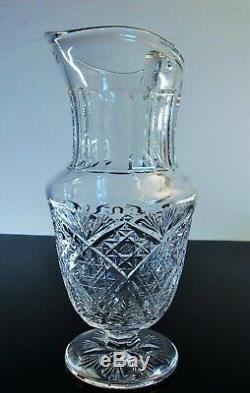 Ancienne Broc Cruche A Eau Cristal Souffle Taille Modele Florence St Louis