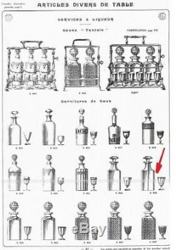 Ancienne Carafe A Cave En Cristal Modelé Harcourt Baccarat Catalogue 1916