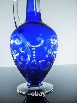 Ancienne Carafe A Vin En Cristal Double Couleur Bleu Grave Taille Boheme