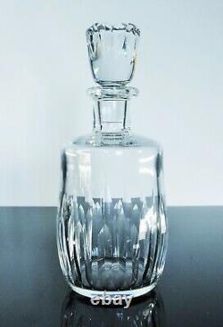Ancienne Carafe A Whisky Degestif Cristal Modelé Lorraine Baccarat Signe