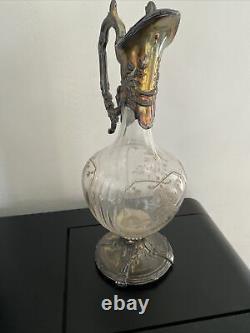Ancienne Carafe Aiguiere Etain Allie Armand Fresnais Cristal Baccarat Decore