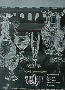 Ancienne Carafe Carafon Digestif En Cristal Taille Modelé Trianon St Louis