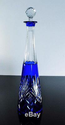 Ancienne Carafe Carafon En Cristal Double Couleur Taille St Louis