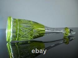 Ancienne Carafe Carafon En Cristal Double Couleur Vert Taille Val St Lambert