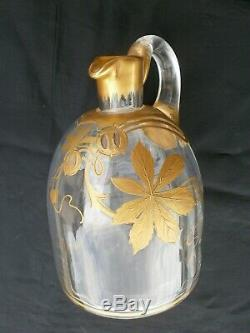 Ancienne Carafe Cristal Baccarat Decor Or Gold Epoque 1920