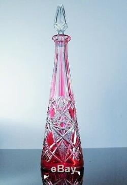 Ancienne Carafe En Cristal Couleur Rouge Rose Taille Modelé Lagny Baccarat