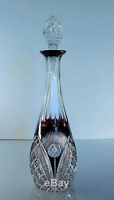 Ancienne Carafe En Cristal Couleur Rubis Double Couche Val St Lambert