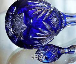 Ancienne Carafe En Cristal Double Couche Bleu Taille Baccarat Vers 1906