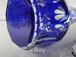 Ancienne Carafe En Cristal Double Couleur Bleu Cotes Plates Boheme