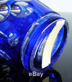Ancienne Carafe En Cristal Double Couleur Bleu Taille Baccarat 1849 Art Nouveau